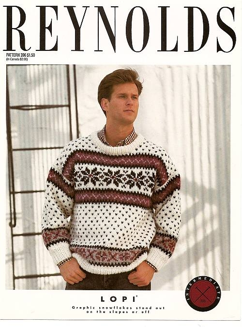 Knitting Pattern For Mans Snowflake Pullover In Alafoss Lopi